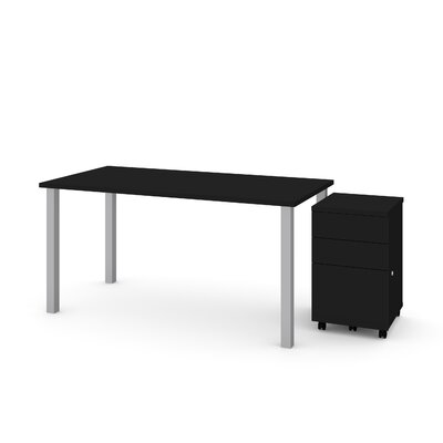Tyra 2 Piece Desk Office Suite Color: Black