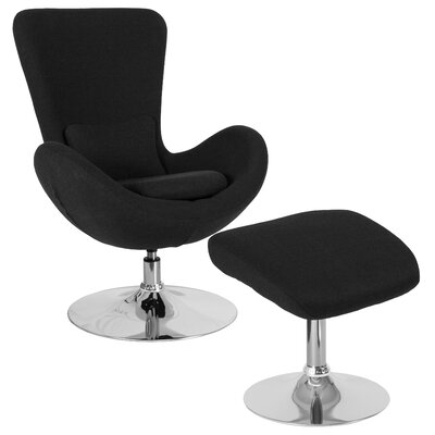 Palisades Guest Chair with Ottoman Seat Color: Black