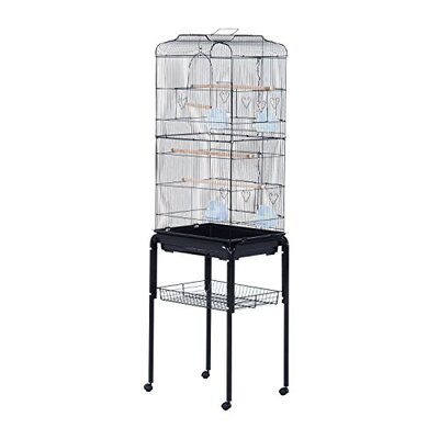 Freelon Indoor Bird Cage Starter Kit Rolling Stand with Caster Color: Black