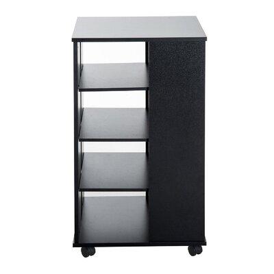 "33"" H x 19"" W Rolling 5 Shelf Shelving Unit Finish: Black"
