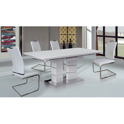 Figueroa 7 Piece Dining Set Table Color: Glossy White, Chair Color: White