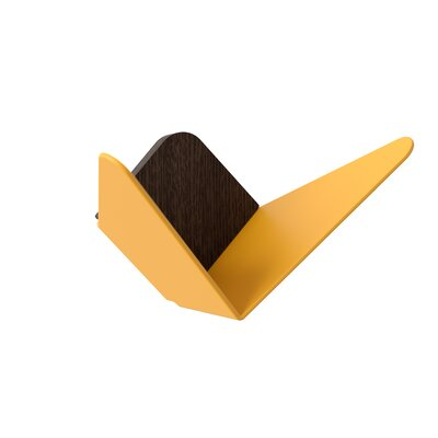"Django Mini Wall Hook Color: Saffron Yellow, Size: 3.3"" H x 6.7"" W x 3.6"" D"