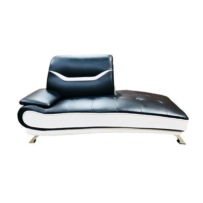 Downing Chaise Lounge Upholstery: Black/White