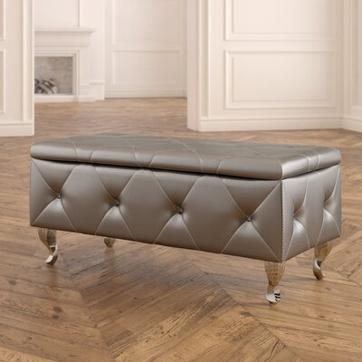 Victoria Upholstered Storage Bench Upholstery: Silver
