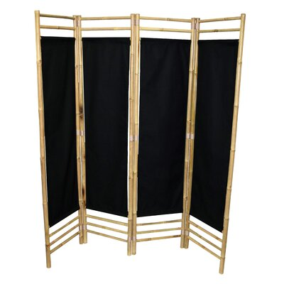 Rodgers 4 Panel Room Divider Color: Black