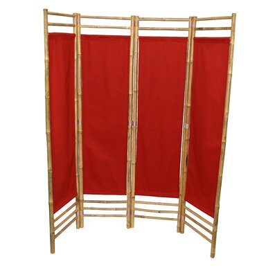Rodgers 4 Panel Room Divider Color: Red