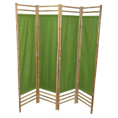 Rodgers 4 Panel Room Divider Color: Green