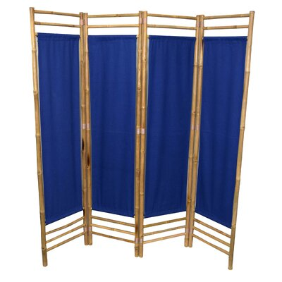 Rodgers 4 Panel Room Divider Color: Blue