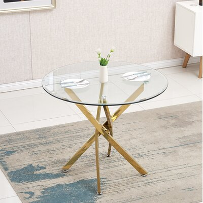 Monahan Dining Table Base Color: Gold