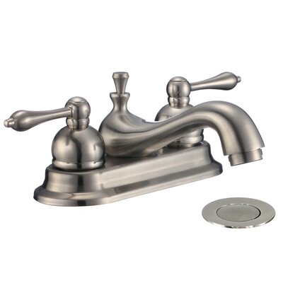 Parabol 2-Handle Centerset Bathroom Faucet with Drain Assembly Finish: Brushed Nickel