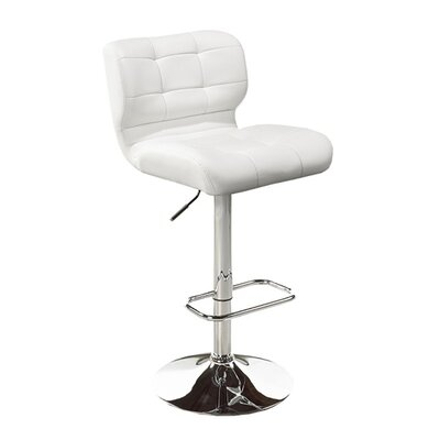 Dube Adjustable Height Bar Stool Color: White