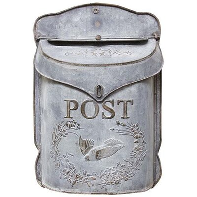 Galvanized Metal Post Box Wall Mounted Mailbox Color: Gray