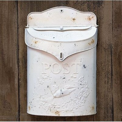 Galvanized Metal Post Box Wall Mounted Mailbox Color: White