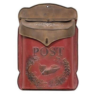 Galvanized Metal Post Box Wall Mounted Mailbox Color: Red/Brown
