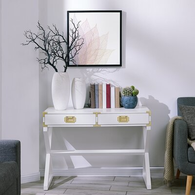 Cleorand Console Table Color: White