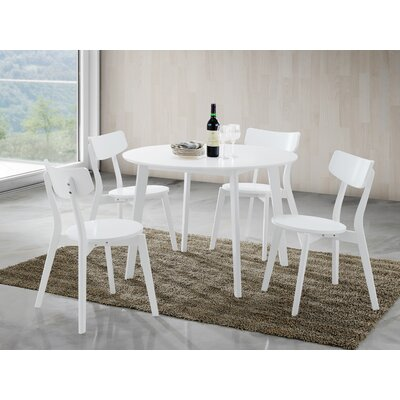 Tre 5 Piece Dining Set Chair Color: White