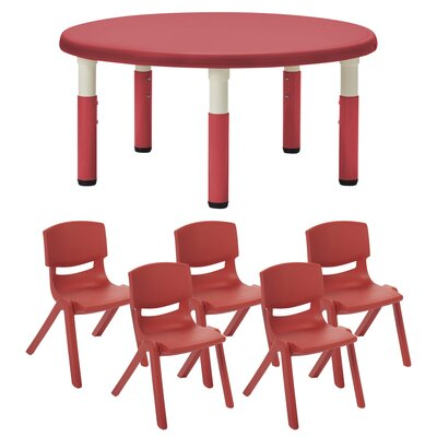 """Kids 5 Piece Table and Chair Set Color: Red, Size: 12"""""""