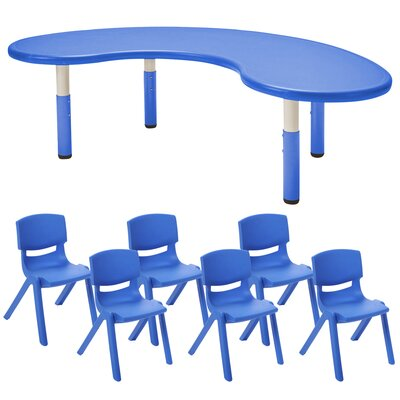 """Kids 7 Piece Table and Chair Set Color: Blue, Size: 10"""""""