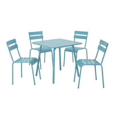 Nader 5 Piece Dining Set Color: Teal