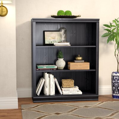 Morgan 3-Shelf Bookcase Color: Black Oak