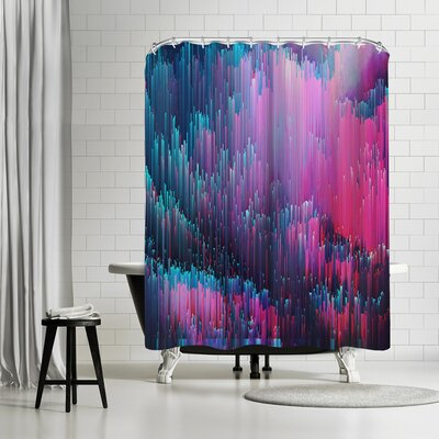 Emanuela Carratoni Bold Pink And Blue Glitches Shower Curtain