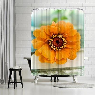 Mirja Paljakka Orange Zinnia On Book Shower Curtain