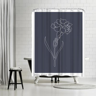 Explicit Design Black Flame Carnation Shower Curtain