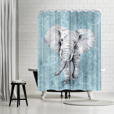 PI Creative Art Blue Paisley Elephant Shower Curtain