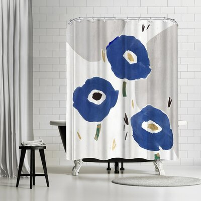 PI Creative Art Blue Cluster Ii Shower Curtain
