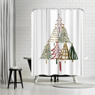 PI Creative Art Pine Trees I Shower Curtain
