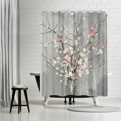 PI Creative Art Delicate Pink Blooms Shower Curtain