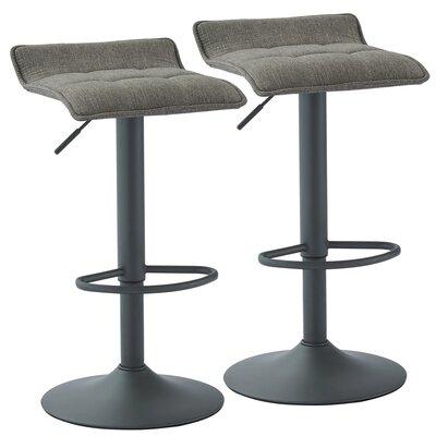 Ean Adjustable Height Swivel Bar Stool Upholstery: Gray