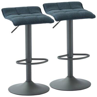 Ean Adjustable Height Swivel Bar Stool Upholstery: Blue