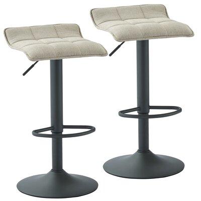 Ean Adjustable Height Swivel Bar Stool Upholstery: Beige