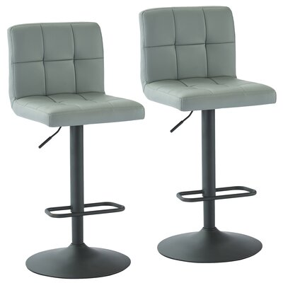 Jakobe Adjustable Height Swivel Bar Stool Upholstery: Gray