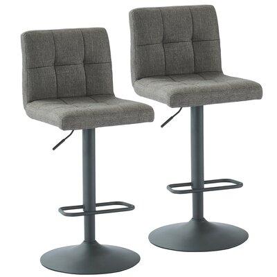 Glen Adjustable Height Swivel Bar Stool Upholstery: Gray