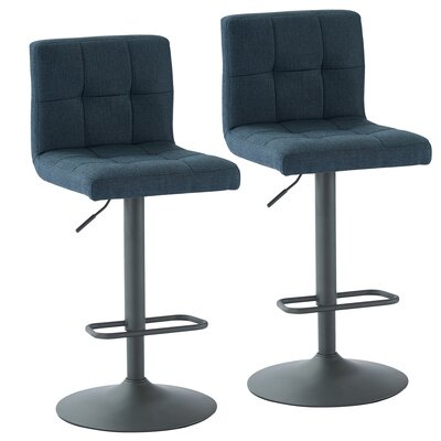 Glen Adjustable Height Swivel Bar Stool Upholstery: Blue