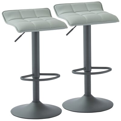 Arjun Adjustable Height Swivel Bar Stool Upholstery: Gray