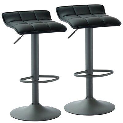 Arjun Adjustable Height Swivel Bar Stool Upholstery: Black
