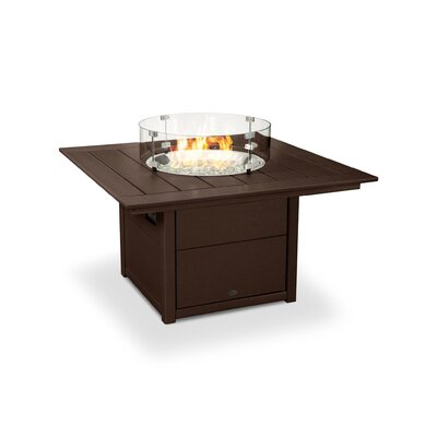 Poly-resin Propane/Natural Gas Fire Pit Table Color: Mahogany