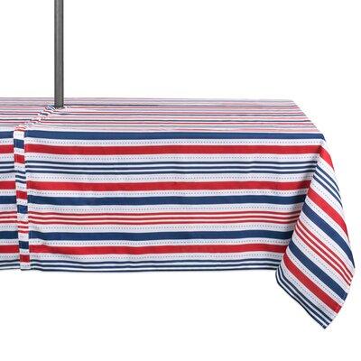 "Ashtyn Stripe Outdoor Umbrella Tablecloth With Zipper Size: 120"" W x 60"" L"