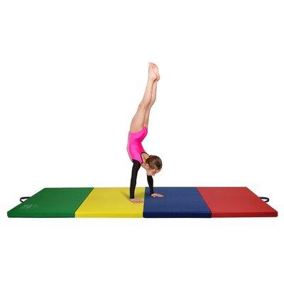 "Quad Folding Tumbling Floor Mat Size: 2"" H x 96"" W x 48"" D, Color: Rainbow"