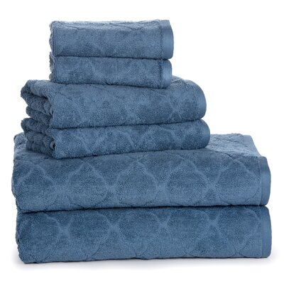 Swiss Luxurious Fine Jacquard Solid 6-Piece Cotton Towel Set Color: Stellar
