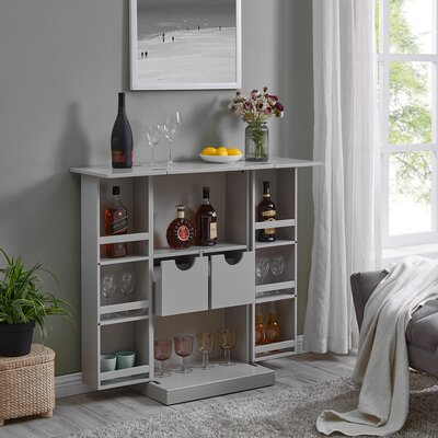 Zain Bar Cabinet with Wine Storage Color: Gray