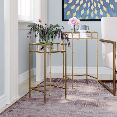 Waltham Cross 2 Piece Nesting Plant Stand Color: Gold