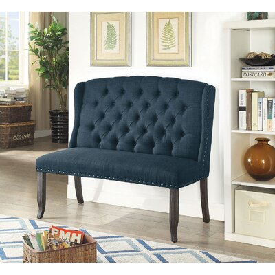 Teresa Upholstered Bench Upholstery: Blue