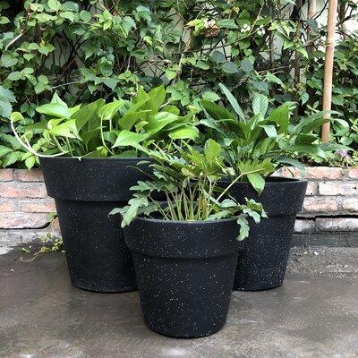 Luciano Stackable 3-Piece Concrete Pot Planter Set Color: Black
