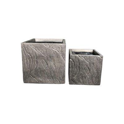 Mcclendon Oblique Line Square 2-Piece Concrete Pot Planter Set