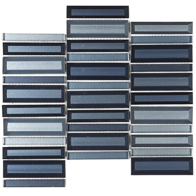 """1"""" x 4"""" Glass Mosaic Tile in Cerulean Swell"""