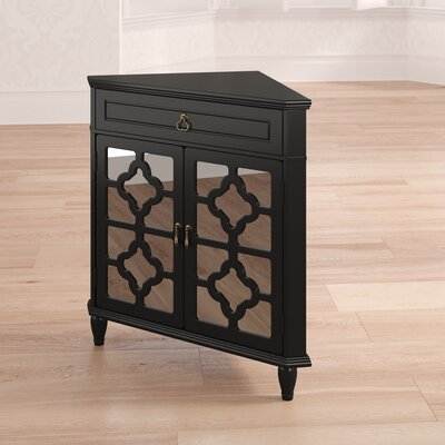 Charlwood Wooden Corner Accent Cabinet with 1 Drawer and 2 Doors Color: Black